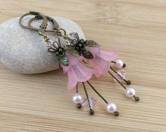 Pink Lucite Flower Earrings. Long Flower Earrings. Spring Floral Jewelry. Fairy Earrings. Romantic Jewelry. Antique Bronze Lily Flowers..