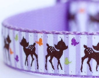 Forest Deer Dog Collar on Lavender Stripes, Woodland Friend Collar, Bambi Purple Pet Collar
