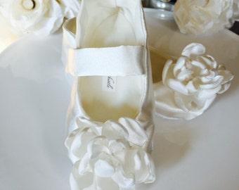 Ivory Satin Flower Girl Shoes, Baby Girl Shoes, Toddler Girl Shoes