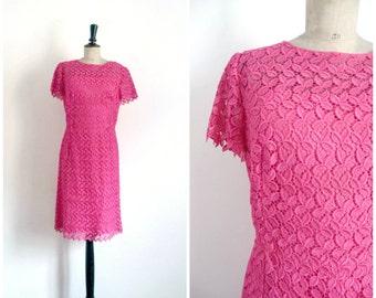 Vintage 60s Midi Cocktail Right Fushia Pink Lace Dress / Small to Medium