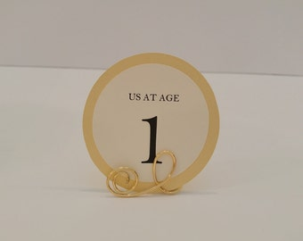Us At Age Wedding Table Numbers  Attach to Your Framed Childhood Photos Prepared in a Round Circle Design all of my Colors Available