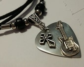 Guitar Pick Necklace - Christian Jewelry - Stainless Steel - Guitar Pick Jewelry - Cross Necklace - Christian Jewelry - Adjustable Necklace