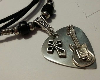 Guitar Pick Necklace - Christian Jewelry - Stainless Steel - Guitar Pick Jewelry - Cross Necklace - Unisex Necklace - Adjustable Necklace