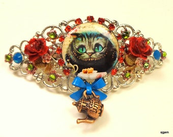 Cheshire Cat Crystal Barrette,Alice in Wonderland,Tea Party Filigree Hair Jewellry,Roses Painted Red,Vintage Style Sexy Hair Accessories