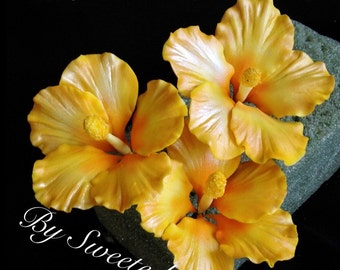Gum Paste Hawaiian Hibiscus Cake Decorations Yellow Gumpaste