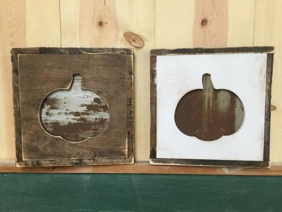 Rusty Metal Steel Pumpkin Distressed Framed Wood Sign