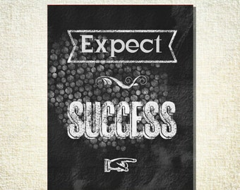 Expect Success - 16x20 Gallery Wrapped Canvas WORD ART PRINT - Graduation motivational inspirational chalkboard print
