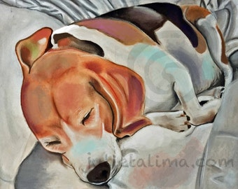 Print of Sleeping Beagle. Print from pastel drawing