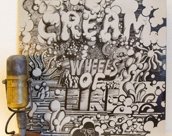 """ON SALE Cream (with Eric Clapton) Vinyl Record Album 2Lp Vintage 1960s Classic Rock and Roll LIVE & Studio """"Wheels Of Fire"""" (1977 RSo re-iss"""