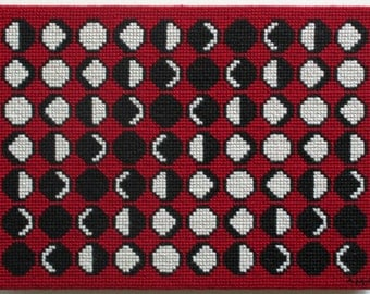Moon Phases Red Needlepoint - Original Art, Astrology, Phases Of The Moon