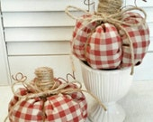 Set/2 Checked Gingham Fabric Pumpkins ~ Country Farmhouse Primitive Style ~ Fall Decor ~ Fall Pumpkins  ~ Hostess Gift ~ Thanksgiving