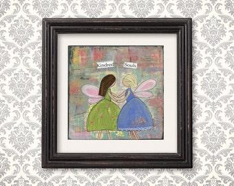 Inspirational art print, best friends, angel, wall art, typography art, Mother's Day