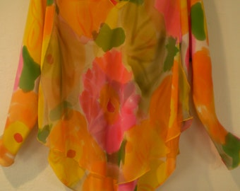 2 pc. bias cut crepe de chine silk blouse and silk georgette over blouse-115.00 colorful brights