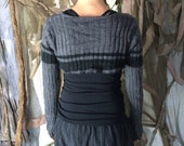 Striped Overbust Sweater Shrug / Upcycled Crop Sweater / Cropped Sweater