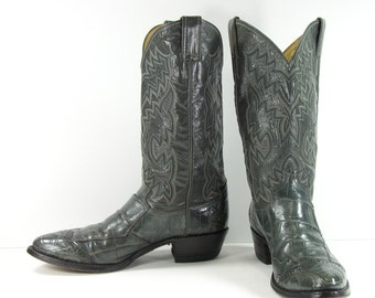 vintage cowboy boots mens 9.5 D gray justin leather western
