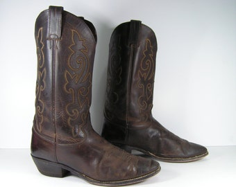 justin cowboy boots men's 10 EE dark brown distressed leather western made in usa vintage