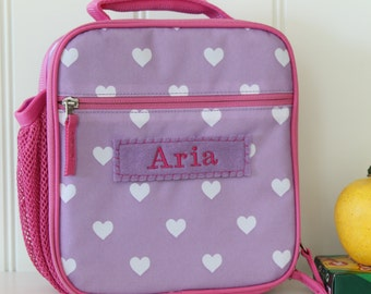 Lunch Bag With Monogram Classic Style Pottery Barn --Lavender/Pink Heart