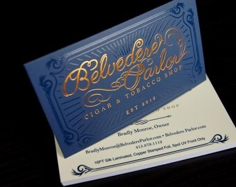 500 Business Cards - copper metallic foil stamped on silk laminated stock - 16 PT matte - custom printed