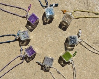 Cube Tiny Glass Bottle Micro Bead Pixie Dust Necklace