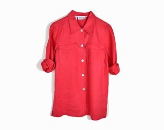 Vintage Linen Utility Shirt in Poppy Red / Long Sleeve Linen Blouse - women's small