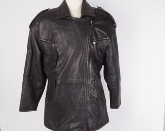 Long Soft Distressed Leather Motorcycle Biker Jacket 80s Vintage Large L 46