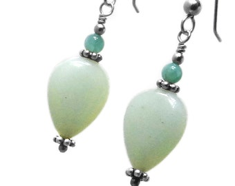 Amazonite Teardrops Earrings Sterling Silver or Gold Filled