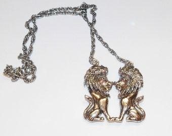 Vintage Double Lion Pendant necklace