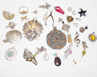Vintage Destash Charms and rhinestones lot for wear or repurpose