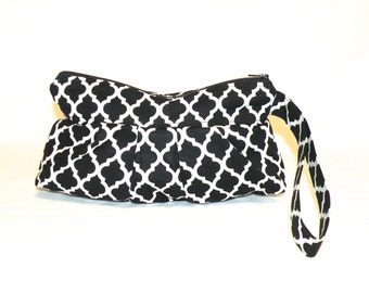 Pleated Wristlet in Black With White Quatrefoil Pattern