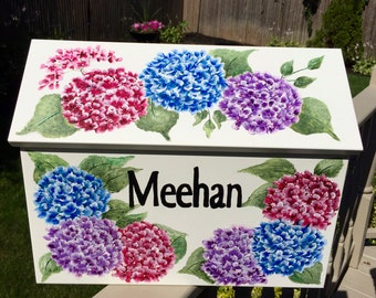 Designer Wall Mount mailbox, painted mailbox, hand painted mailbox, decorative mailbox, custom painted, painted flowers, Hydrangea mailbox,
