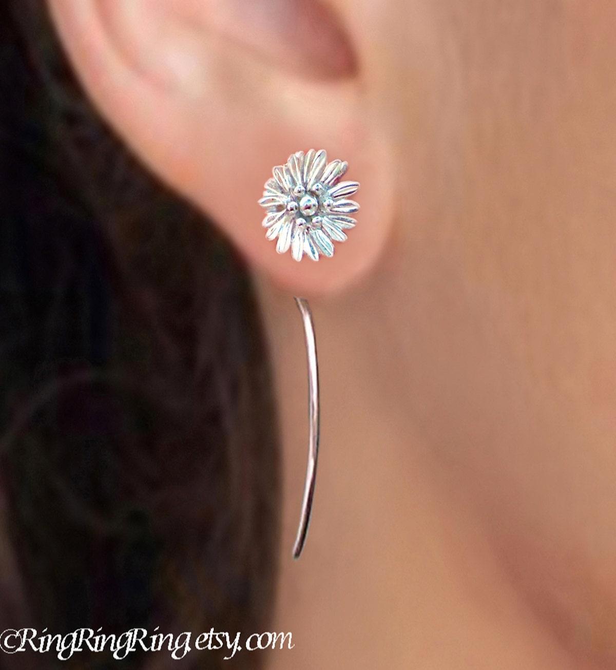 shasta daisy flower earrings sterling silver earrings jewelry. Black Bedroom Furniture Sets. Home Design Ideas