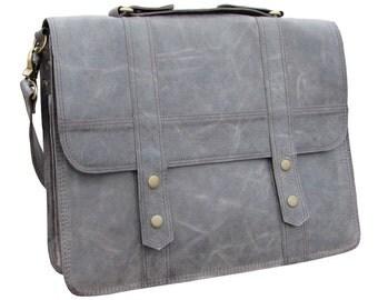 """Leather Messenger Bag Leather Satchel  Leather Laptop Bag 15"""" Macbook Classic Briefcase  Shoulder Bag in Grey- MB26J"""