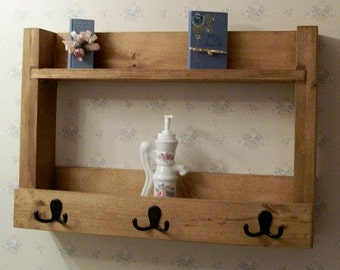 Rustic Primitive Country Shelf for Bath, Kitchen, Foyer Organization Storage
