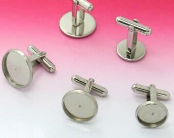 10 Cufflinks Stainless Steel Cufflink Base W/ 10mm/ 12mm/ 14mm/ 16mm/ 18mm/ 20mm Round Bezel Setting Wholesale Cuff links Cufflink Blanks