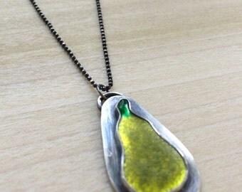 The Perfect Pear Pendant-enamel on fine silver set in silver