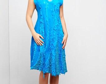 Silk dress handmade felt Turquoise Depth nunofelt felted light elegant exclusive blue wool tunic Regina Doseth handmade EU