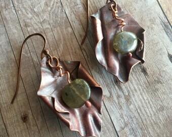 Labradorite Copper Jewelry - Copper Earrings - Dangle Earrings - OOAK Earrigs - Bohemian Earrings