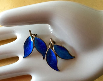 1960s  David Andersen Blue  Enamel leaf Sterling Silver earrings