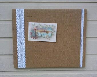 Country Chic Burlap and Lace Wedding Bulletin Board, Photo Memory Board, Dorm Decor, French Memo Board