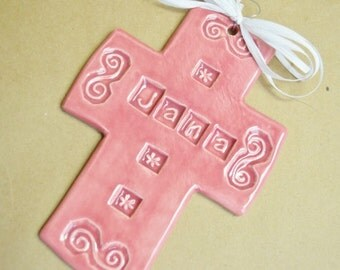 Personalized JANA Ceramic Cross medium size in Rose colored glaze
