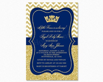 Prince Baby Shower Invitation, Royal Blue Gold Baby Shower Invitation, Little Prince, Gold Glitter, Printable Baby Shower Invitation