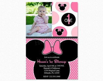 Minnie Mouse Birthday Party Invitation, Pink Minnie Mouse Invitation, Polka Dot, 1st First Birthday, Digital File