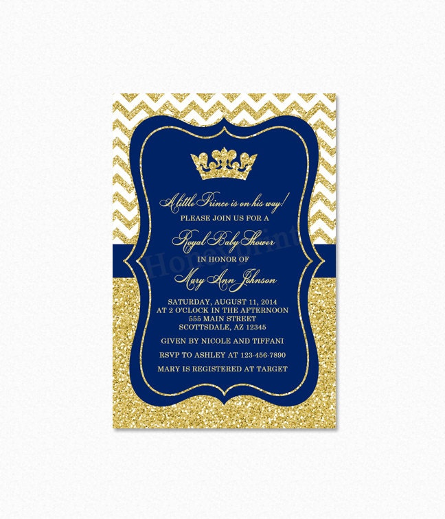 prince baby shower invitation royal blue gold baby shower by, Baby shower