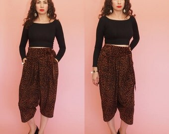 90s Harem Pants // 80s Harem Pants // Leopard Print Harem Pants // High Waisted Harem Pants // Pleated Pants // Draped Pants