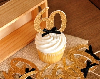 """60th Birthday Party Ideas.  Handcrafted in 2-3 Business Days. Glitter Gold Number """"60"""" Cupcake Toppers 12CT."""