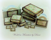 PDF Tutorial Dollhouse Gift Boxes and Bags, Dollhouse Digital Download 1:12 Gift Box Kit, Beige Shabby Gift Box and Bags