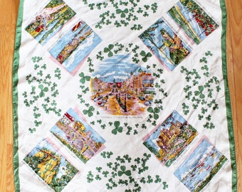 Vintage Ireland Landmarks Silk Souvenir Handkerchief/Scarf