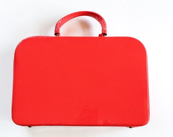 Vintage 1950s/1960s Red Patent Leather Purse/Case with Umbrella Holder