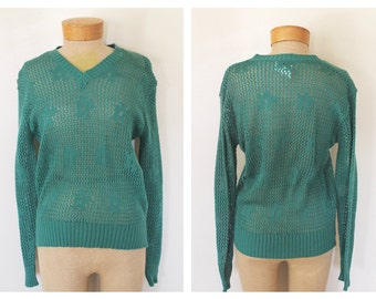Vintage 1970s Womens Green Pullover Sweater Size Large
