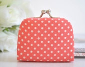 Dots in Coral - Tiny Kiss lock Coin Purse/Jewelry holder